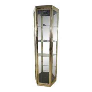 Hollywood Regency Brass Curio Cabinet For Sale