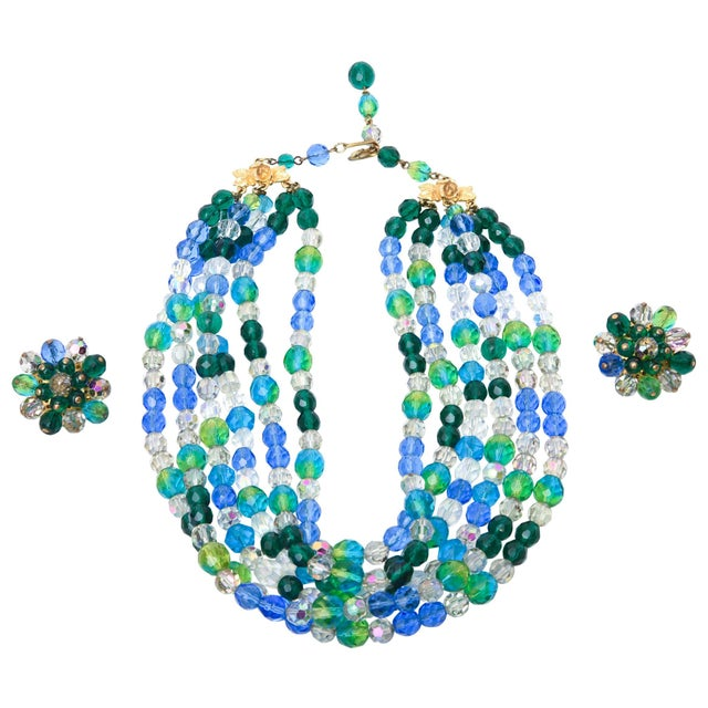 Elsa Schiaparelli Glass Strand Necklace & Clip on Earrings Set of Vintage For Sale - Image 11 of 11
