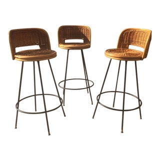 Vintage Mid Century Arthur Umanoff Style Rattan Bar Stools- Set of 3 For Sale