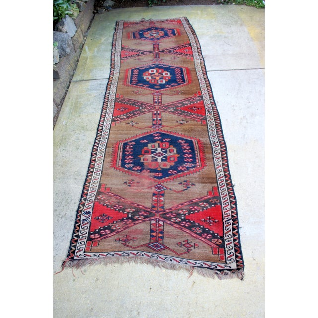 "Vintage Turkish Handknotted Anatolian Tribal Runner-3'4x11'2"" For Sale - Image 13 of 13"
