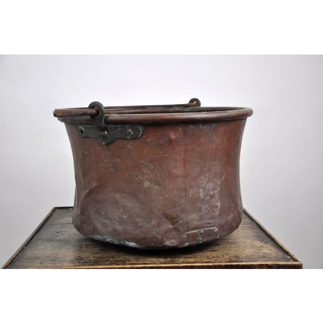French Antique French Copper Cauldron Kettle For Sale - Image 3 of 13