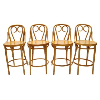 Signed Thonet Counter-Height Bar Stools - Set of 4 For Sale