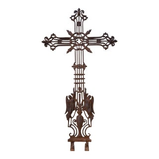 French Vineyard Hand Wrought Cross With Angels For Sale