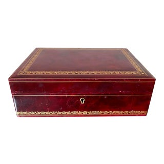 Vintage Italian Red Leather Jewelry Box For Sale
