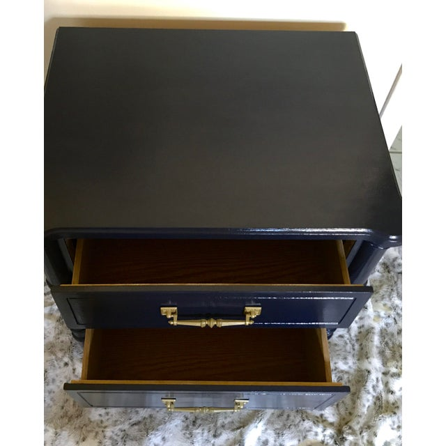 Vintage Mid-Century Henry Link Style Navy Blue Faux Bamboo Nightstand For Sale - Image 12 of 13