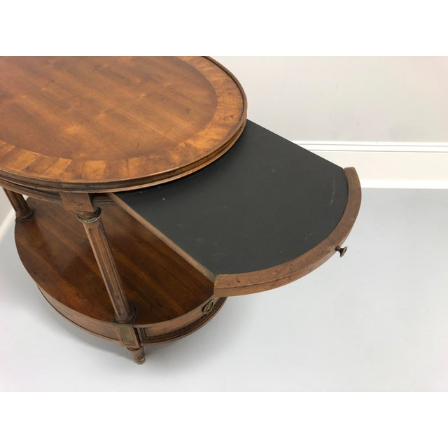 Vintage Mid Century Banded Walnut Oval End Side Table by Heritage For Sale - Image 9 of 13