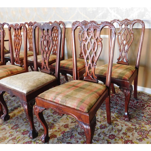 Chippendale 1990s Reproduction Solid Mahogany Chippendale Style Dining Chairs - Set of 10 For Sale - Image 3 of 11