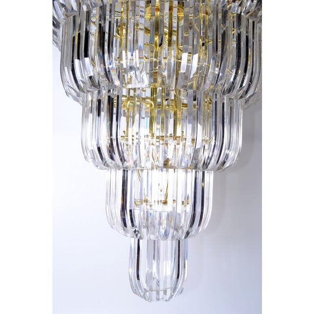 Brass & Lucite Chandelier - Image 6 of 9