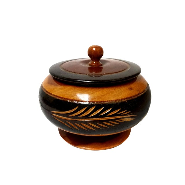 Vintage Hand Carved Wooden Bowl With Lid For Sale