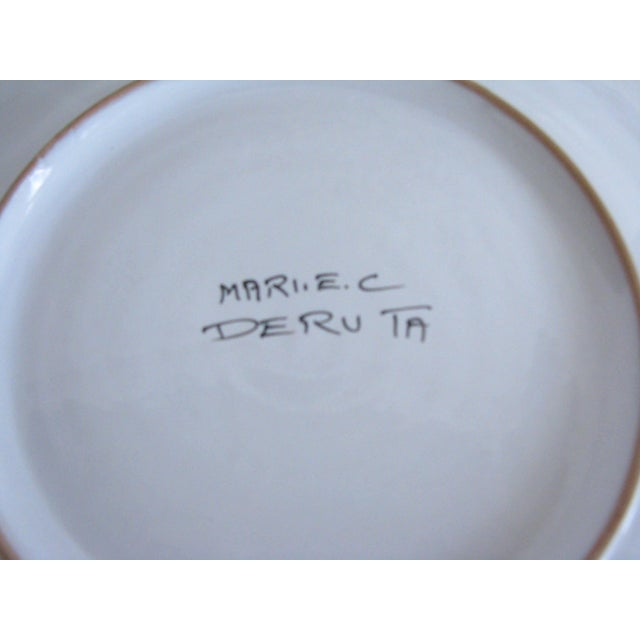 Vintage Mari Deruta Italian Majolica Green Rooster Orvieto Pottery Plates - Set of 6 For Sale - Image 9 of 10
