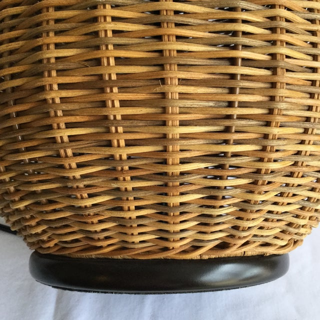 Large Round Wicker Lamp - Image 5 of 7