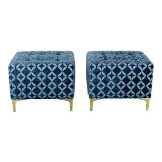 Vintage Blue Chenille Ottoman- a Pair For Sale