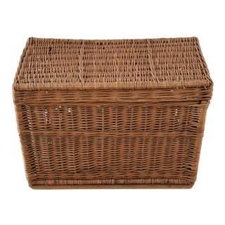 Large Antique French Traveling Wicker Trunk For Sale