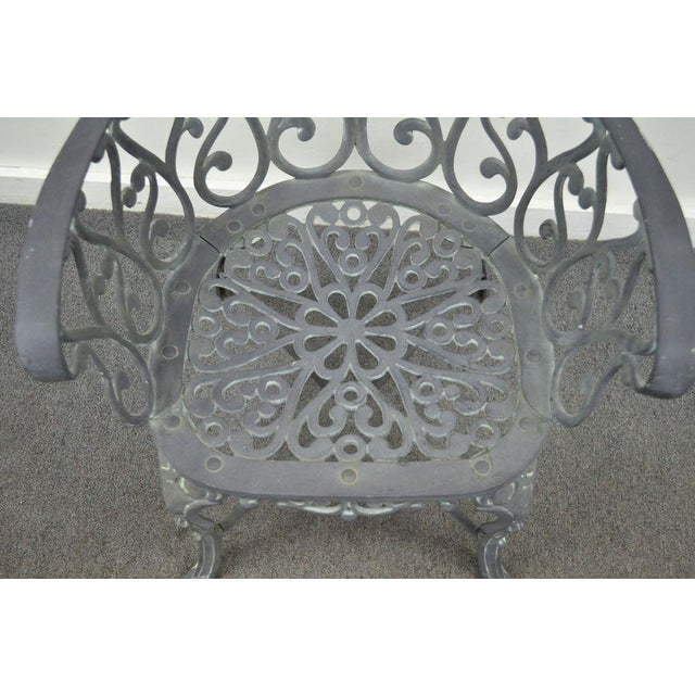 Item: Unique set of 4 French Style Cast Aluminum Garden Chairs with Heart Form Backs and Elegant Form. Age: Late 20th...
