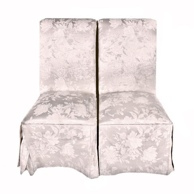 Contemporary Off White Upholstered High Back Skirted Parsons Chairs - a Pair For Sale - Image 9 of 9