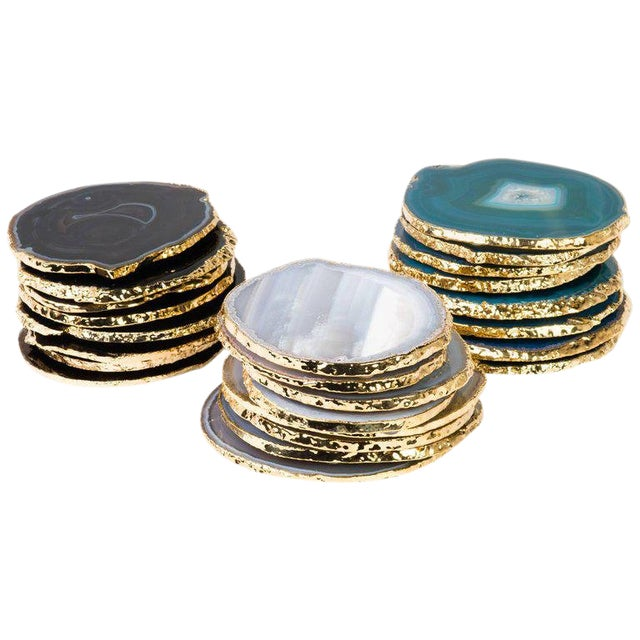 Set of Eight Semi-Precious Gemstone Coasters Wrapped in 24-Karat Gold For Sale