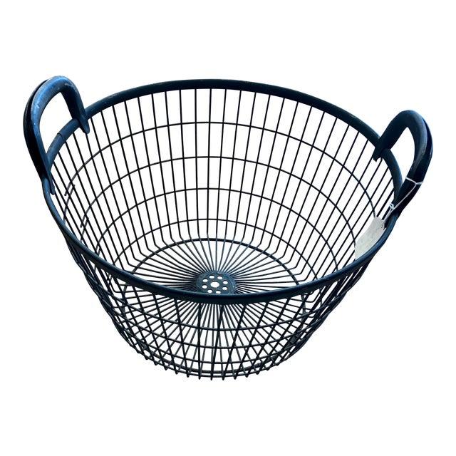 Vintage Mid Century Italian Black Metal Orchard Basket For Sale