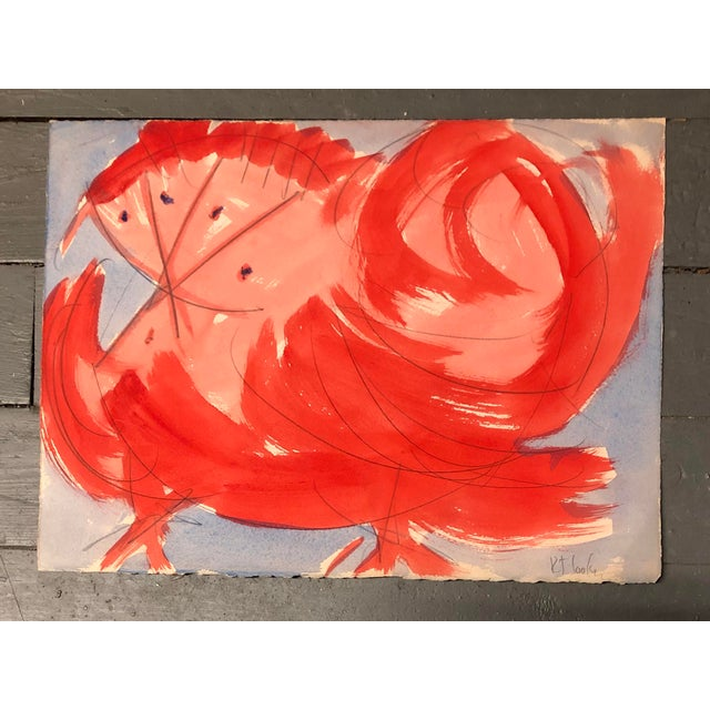 """1970s Vintage Original Robert Cooke Abstract """"Crazy Chicken """" Painting For Sale - Image 5 of 5"""