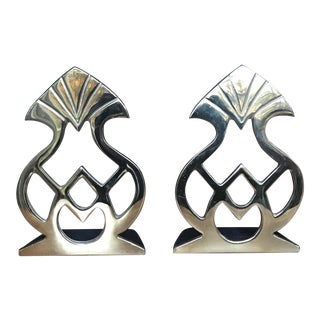 Virginia Metalcrafter Polished Brass Bookends - a Pair For Sale