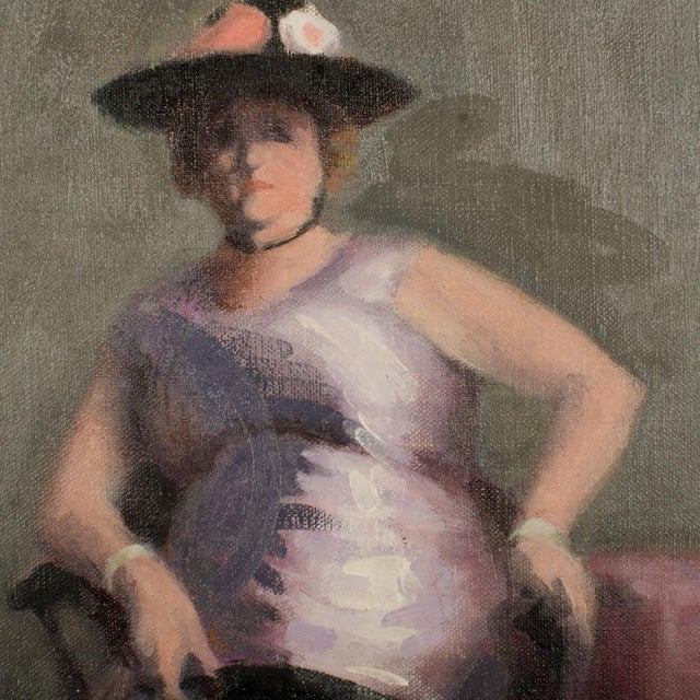 """Realism Mid 20th Century """"Violet Madame"""" Portrait Oil Painting by A. Nichols For Sale - Image 3 of 7"""