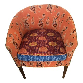 1950s Mid Century Chair with Vintage Fabric For Sale