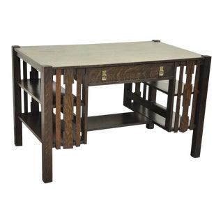 Mission Arts & Crafts Tiger Oak Bookcase Side Library Desk Bear Guaranteed Label