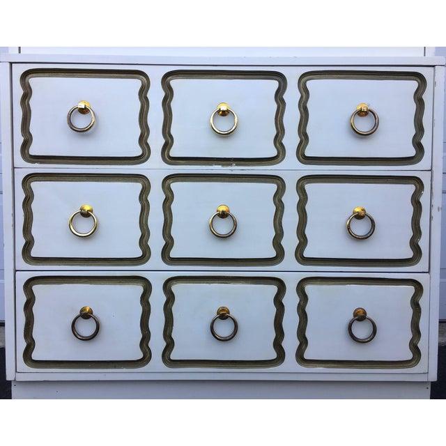 Mid-Century Modern Dorothy Draper Espana for Henredon Heritage style tall chest. This Hollywood Regency five-drawer...
