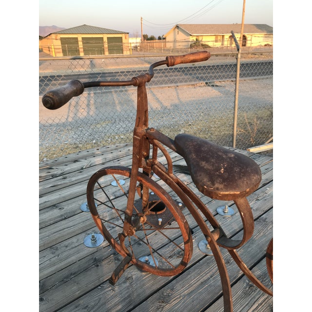 Early 1900s Antique Industrial Cast Iron Tricycle For Sale - Image 9 of 13