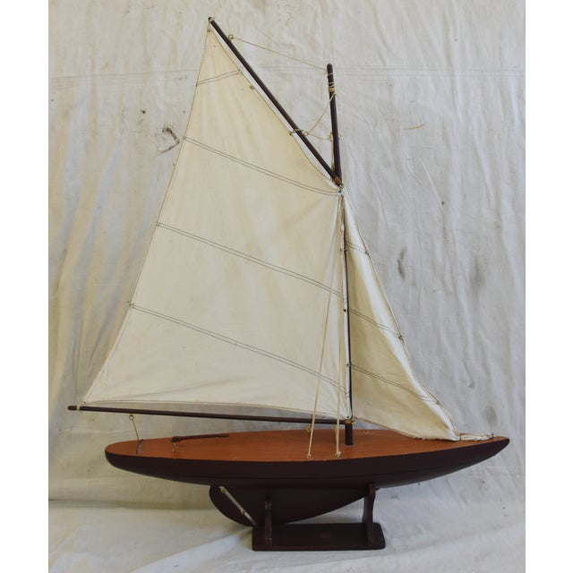 Vintage Nautical Sailing Ship/Boat Model W/Stand For Sale - Image 9 of 13