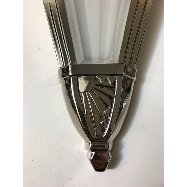 Glass Beautiful French Art Deco Wall Sconces Signed by Degue - A Pair For Sale - Image 7 of 10