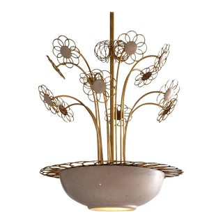 Elegant Floral Chandelier by Paavo Tynell, 1950s For Sale