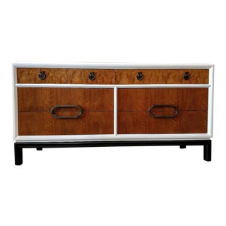 Thomasville, Restored Console/Sideboard, With Burlwood and a White/Black Lacquered Cabinet For Sale