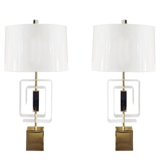 Pair of Lucite and Brass Lamps by Laurel Lamp Company For Sale