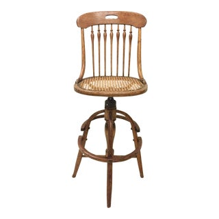 Antique Bentwood Caned Bar Stool