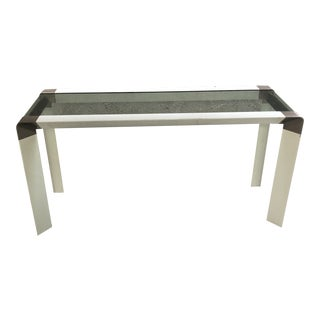 1970s Campaign Style Metal and Glass Console Table For Sale