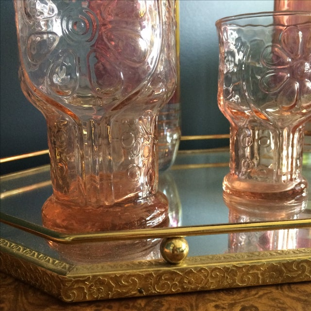 Brass Mirrored Tray With Pink Vintage Barware - Image 8 of 10