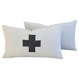 Custom Tailored White & Gray Cross Lumbar Feather/Down Pillows - Pair