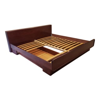 1970s Danish Modern Rosewood Brouer King Size Floating Captains Bed For Sale