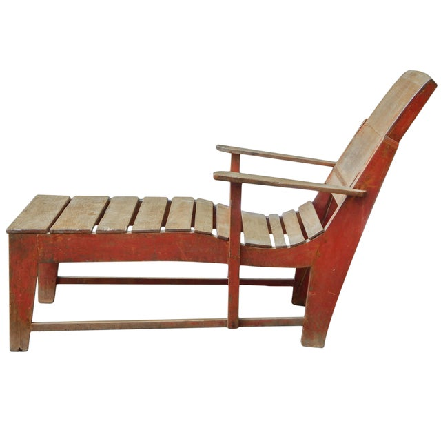 Late 19th C. Primitive Painted Chaise For Sale - Image 4 of 11