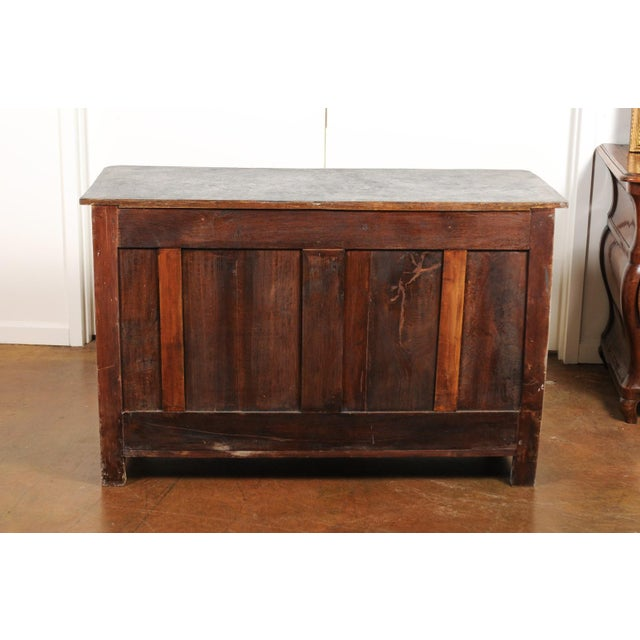 Belgian 1850s Gustavian Style Three-Drawer Painted Commode with Faux-Marble Top For Sale - Image 11 of 13
