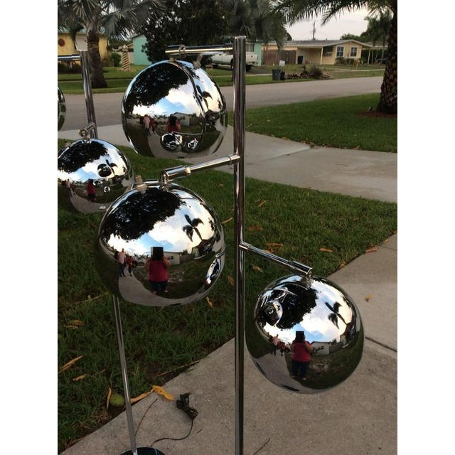 Koch & Lowy Koch & Lowy Chrome Ball Floor Lamps - A Pair For Sale - Image 4 of 11