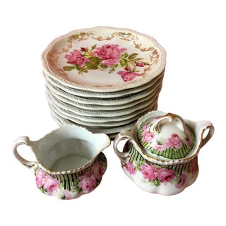 1900s Antique Three Crowns Porcelain Plates With Sugar & Creamer - Set of 13 For Sale