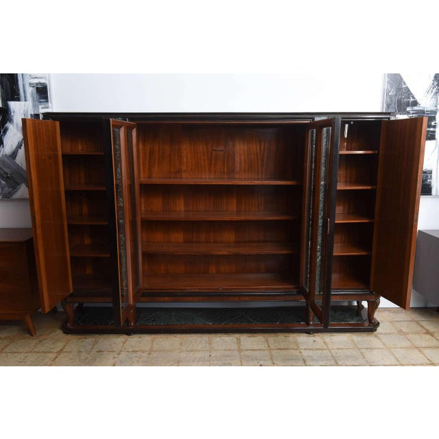 Italian Italian Modern Palisander and Marble Bookcase, Attributed to Paolo Buffa For Sale - Image 3 of 9