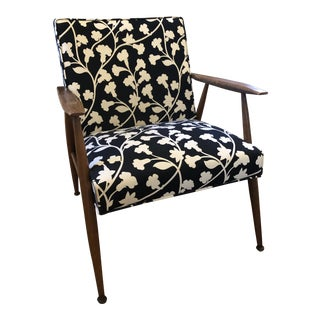 Mid-Century Modern Wood and Upholstery Arm Chair For Sale