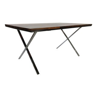 Mid-Century Founders Solid Plank Rosewood and Chrome X-Base Desk/Table For Sale