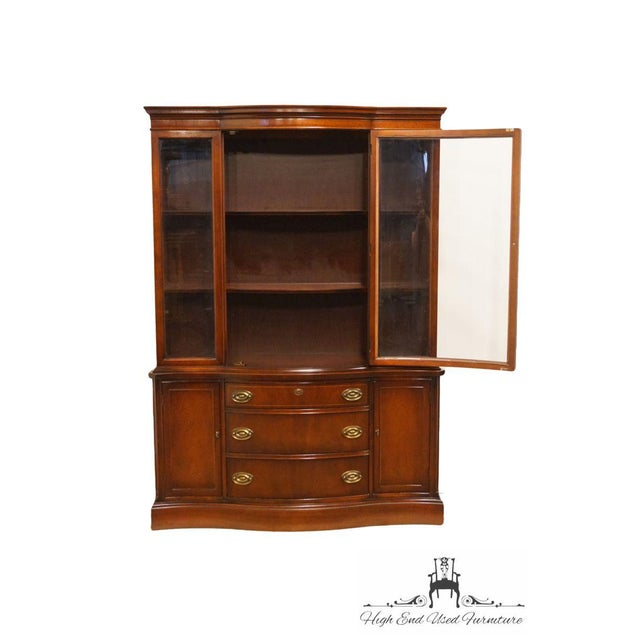 Bassett 20th Century Traditional Bassett Furniture Old Shirley Collection Bow Front China Display Cabinet For Sale - Image 4 of 13