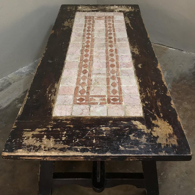 19th Century Spanish Table With Marble Tiles For Sale - Image 9 of 13