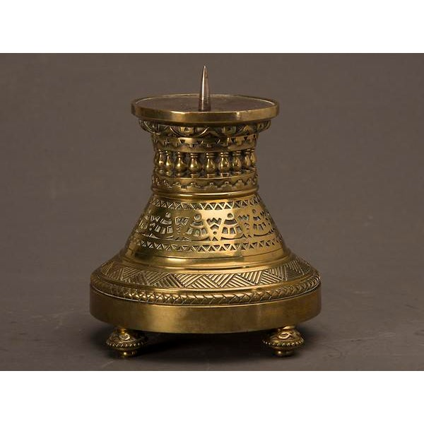 An Arts and Crafts period cast brass pricket candle stand of enormous scale from England c. 1890. Please notice the...