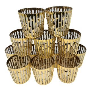 Vintage Imperial Glass Bamboo Rocks Lowball Glasses With 22k Gold Embossed Bamboo Set of 12 For Sale