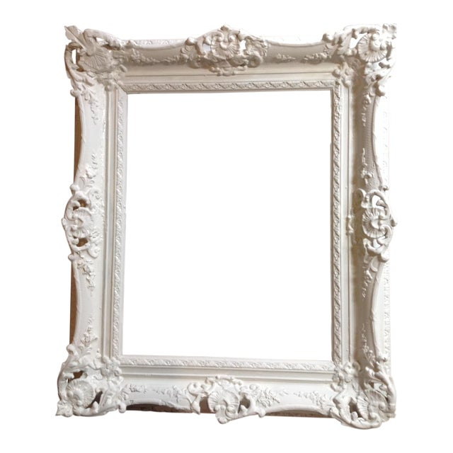 Antique Shabby Chic White Solid Wood Gilt Large Frame | Chairish